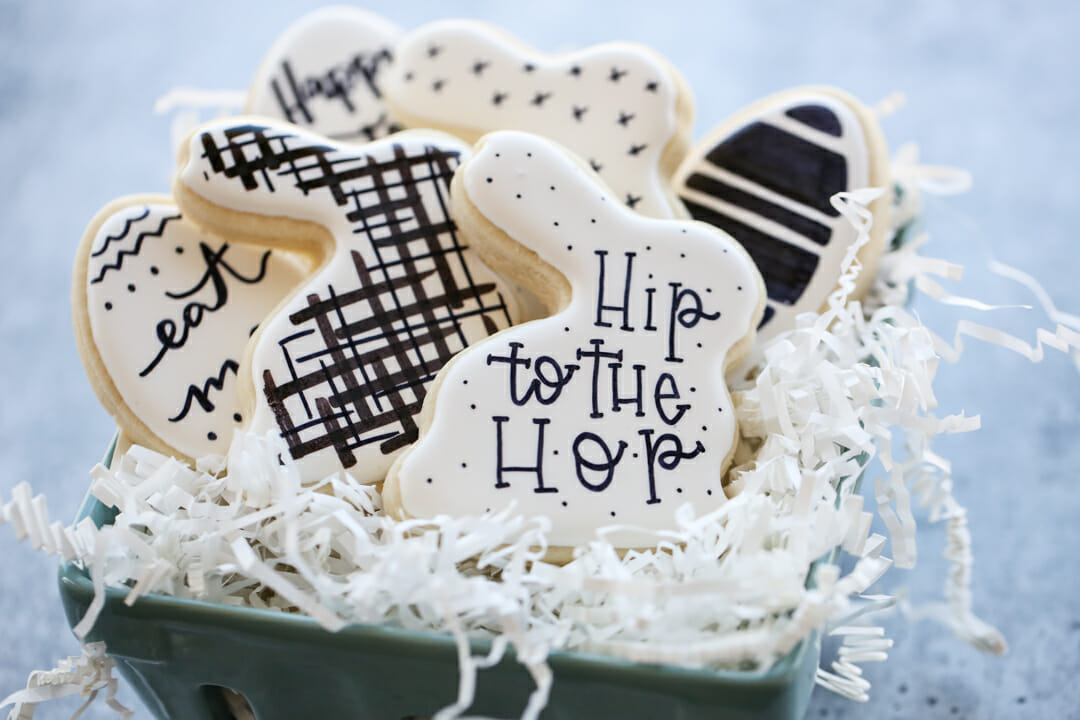 Black and White Easter Cookies in basket