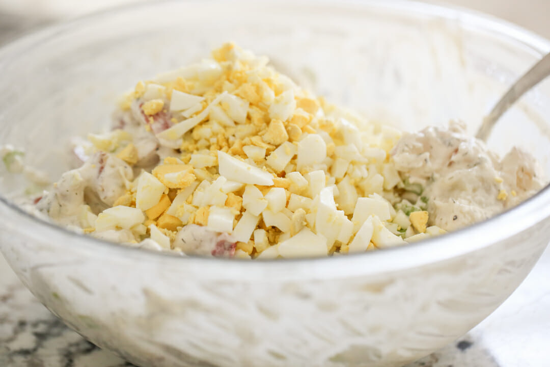 hard boiled eggs in potato salad