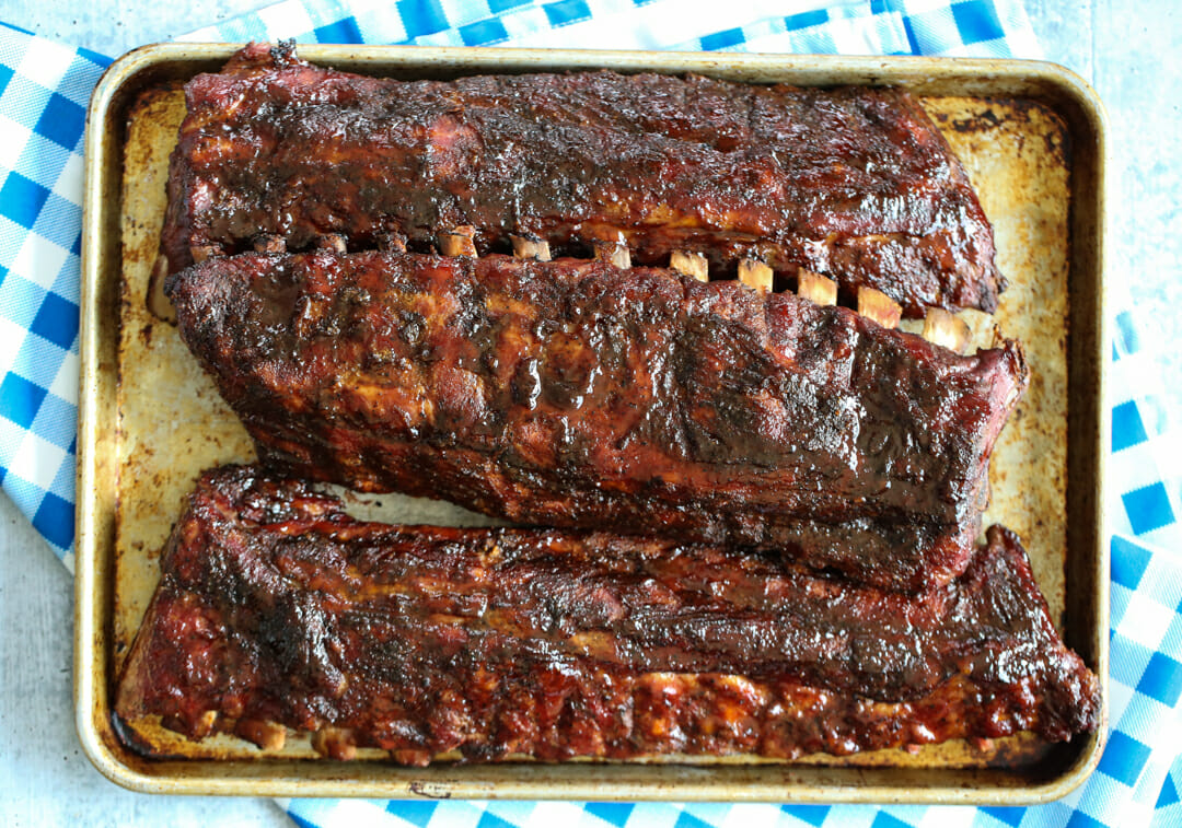 BBQ ribs on pan