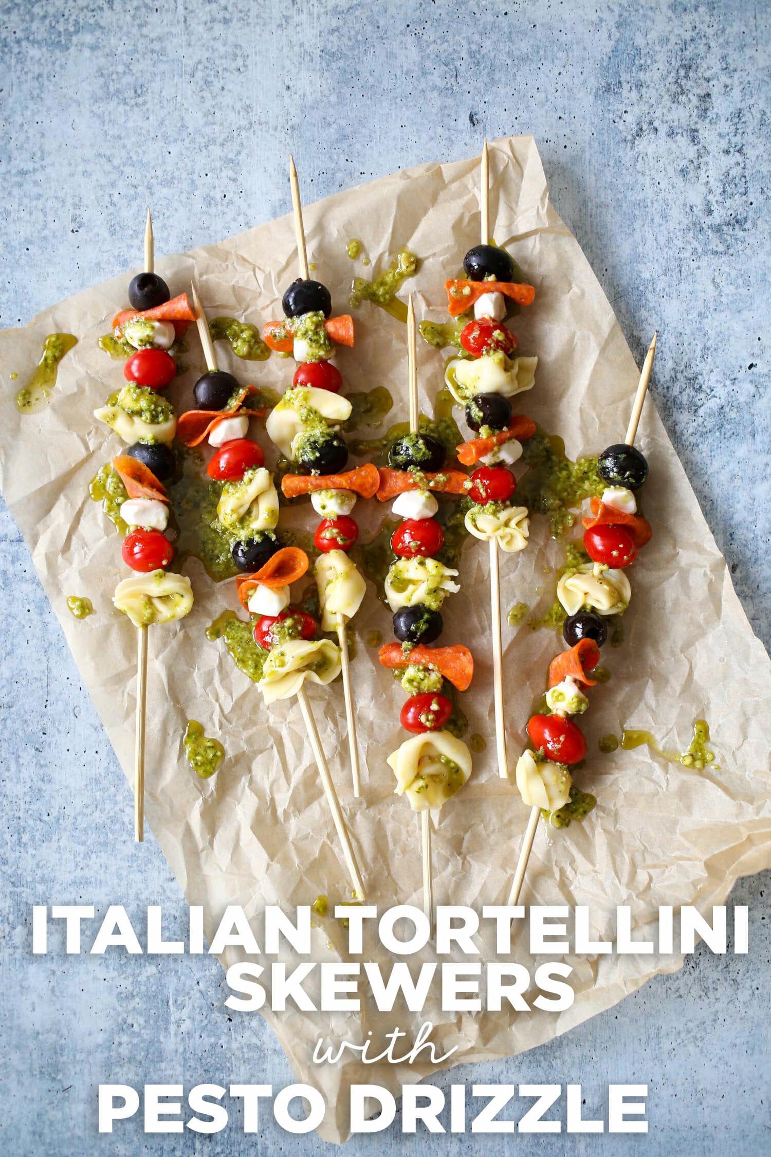 Italian Tortellini Skewers with Pesto Drizzle from Our Best Bites