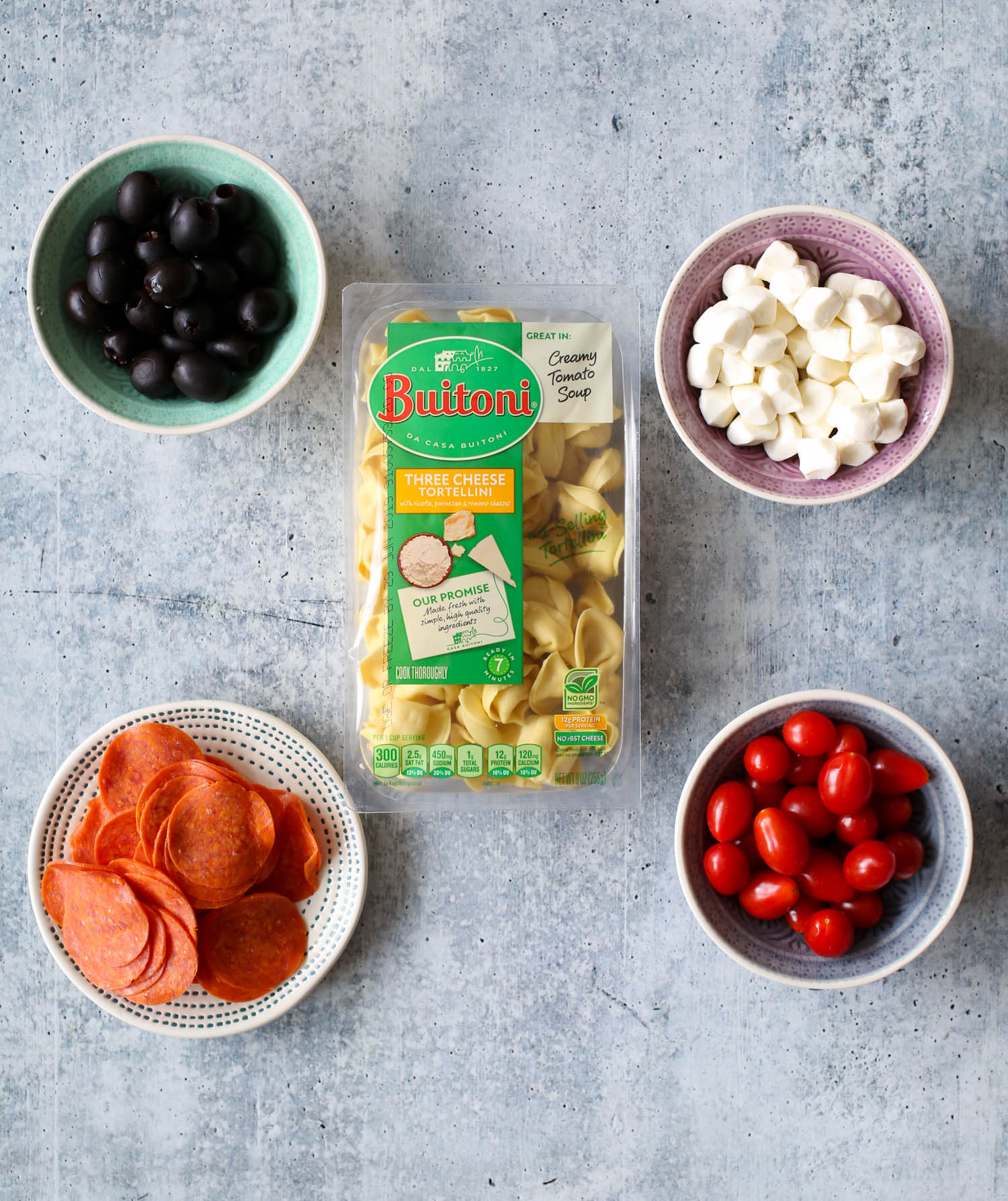Ingredients for Italian Tortellini Skewers with Pesto Drizzle
