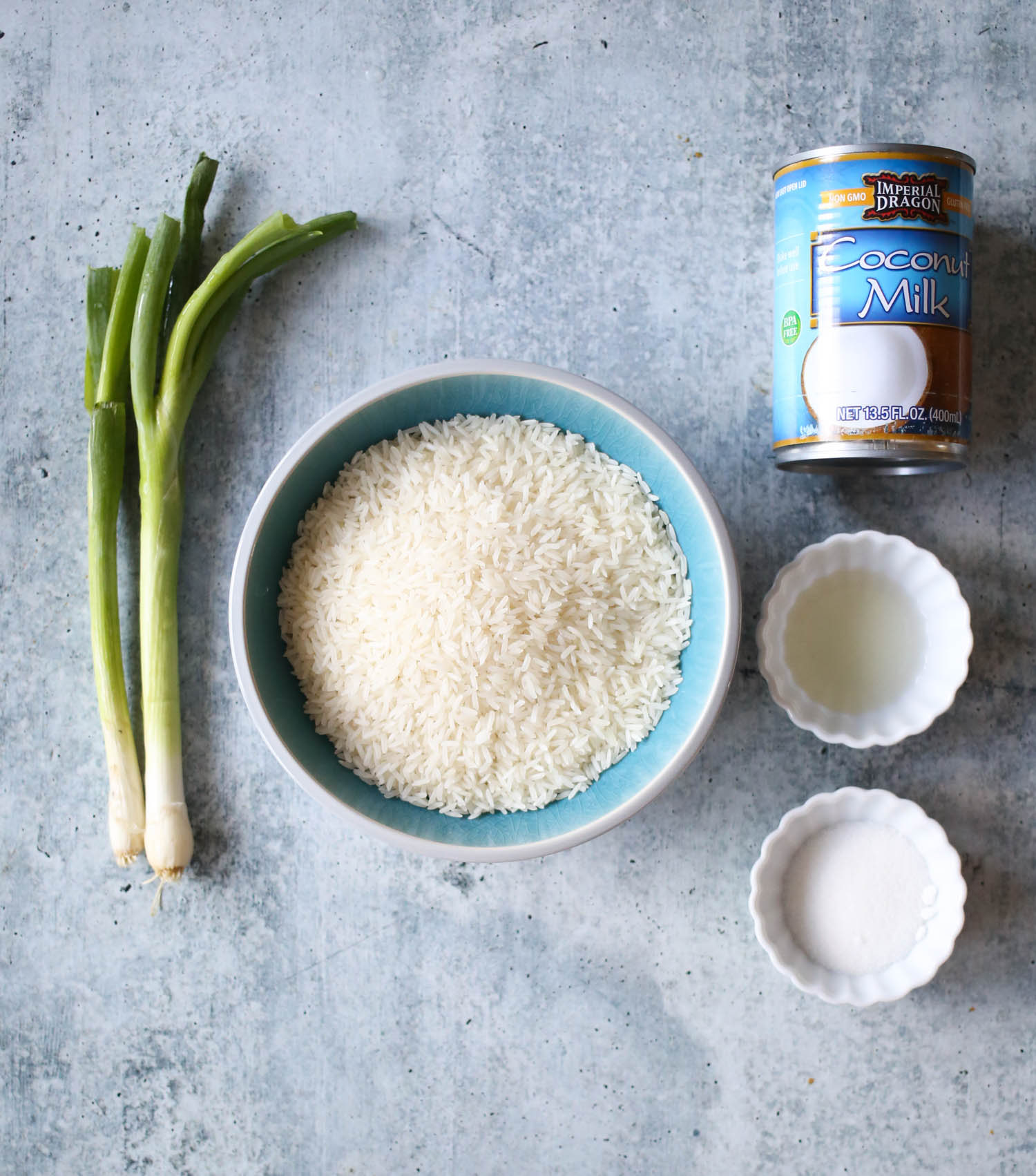 ingredients for sweet and savory coconut rice from our best bites