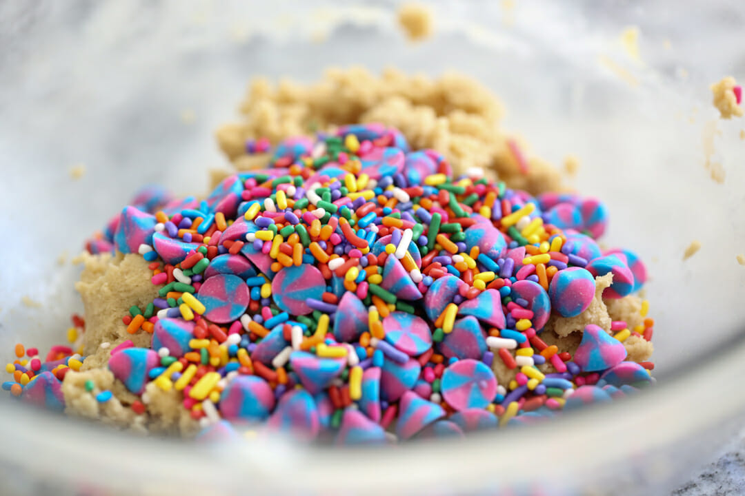 cookie dough with sprinkles and morsels