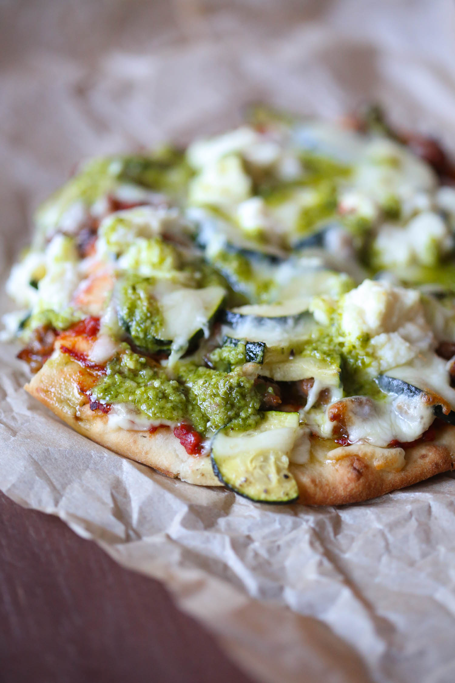 Italian sausage Pesto Flatbread Pizza from Our Best Bites