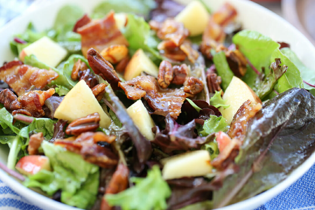 salad with apples pecans and bacon