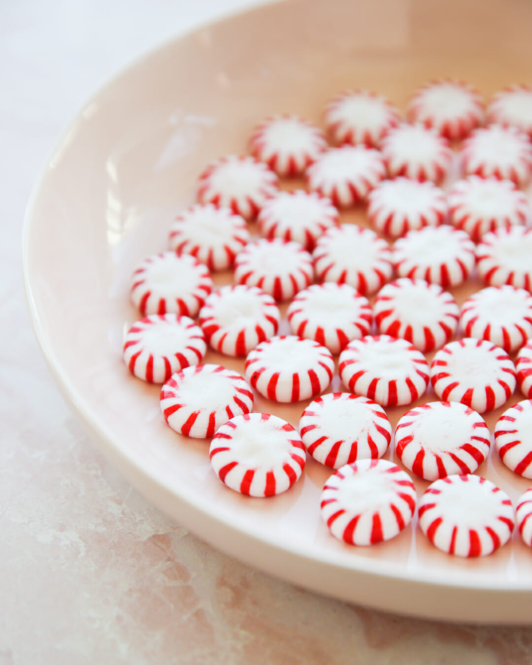 peppermint candies on plate