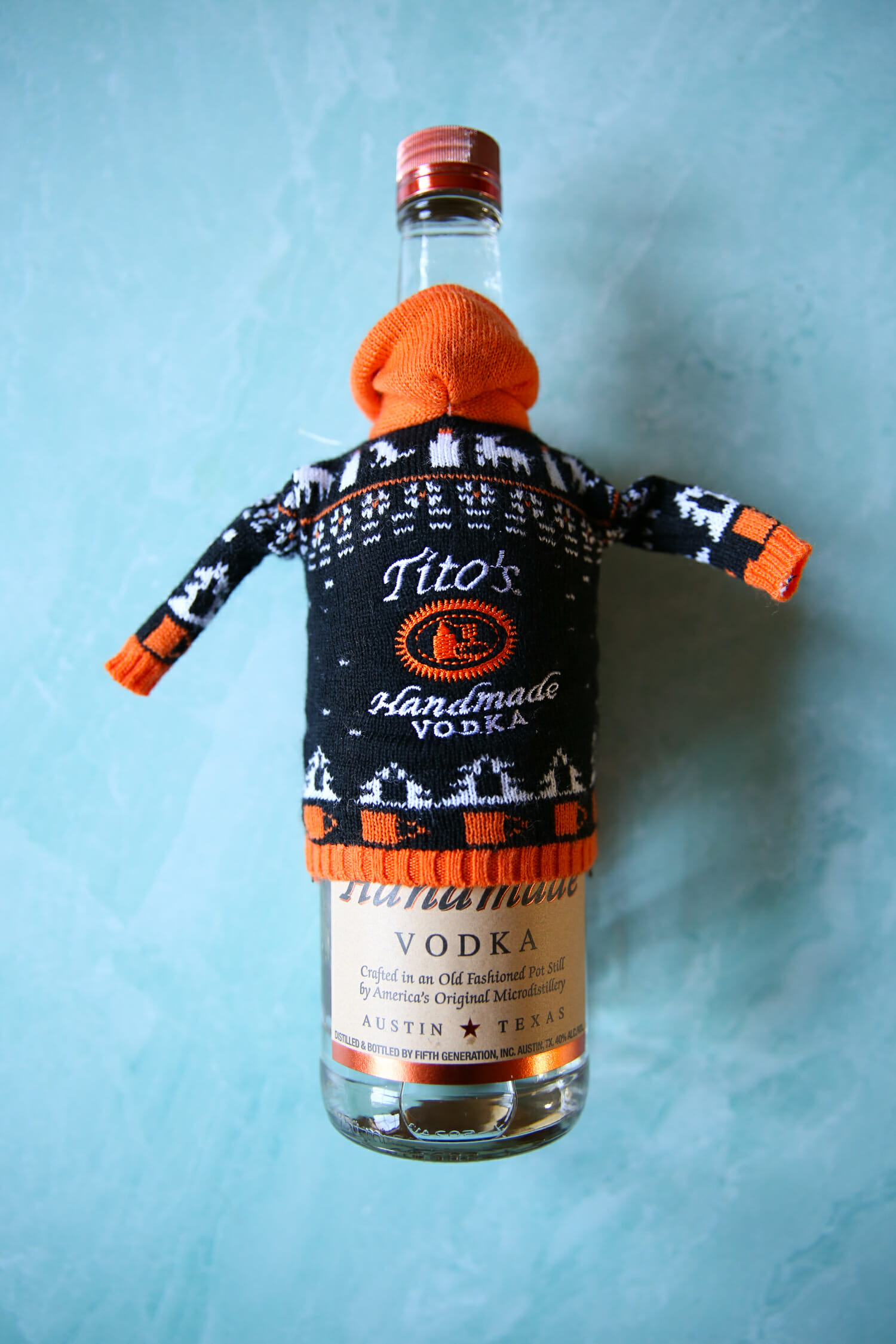 Tito's vodka with a sweater