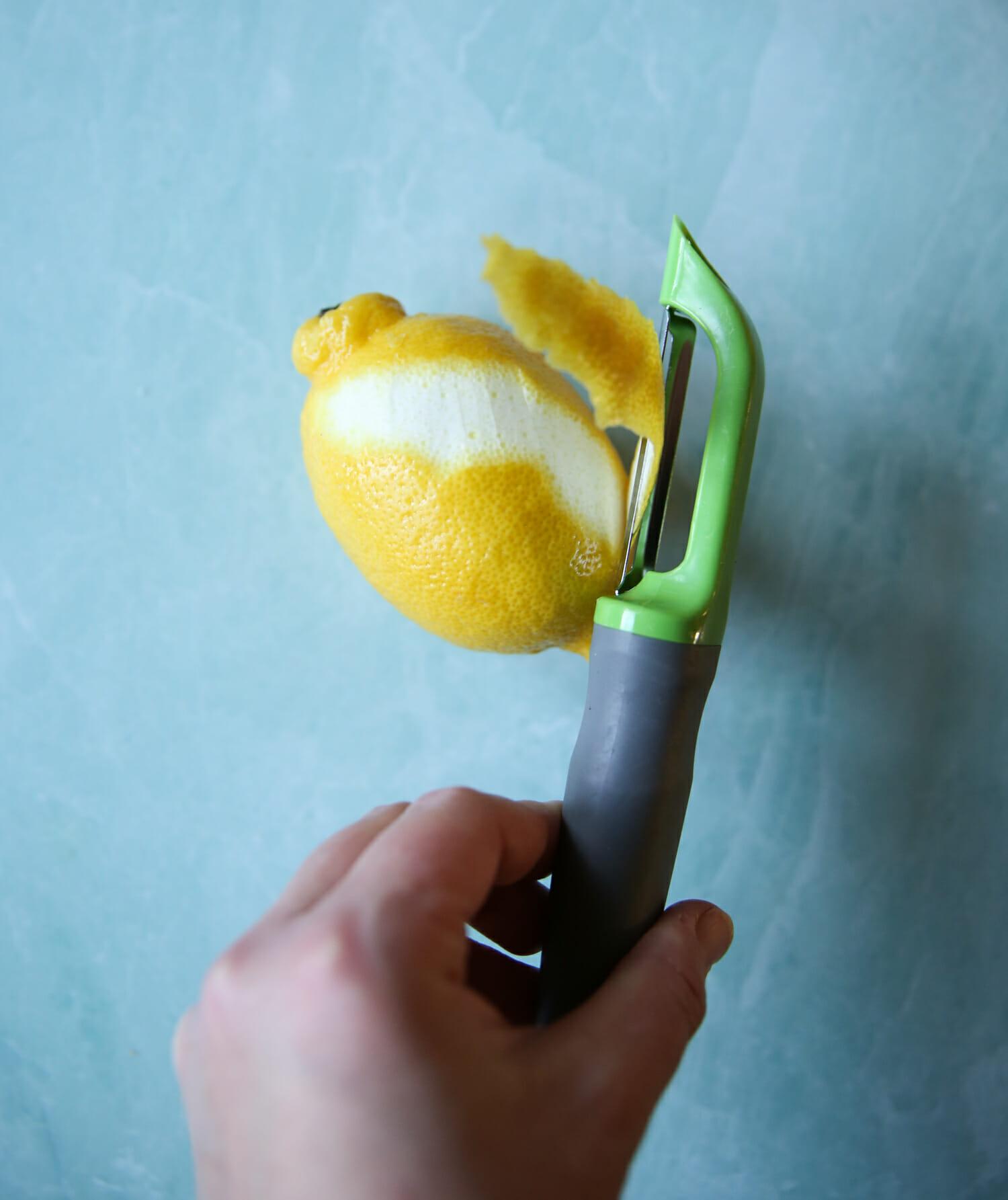 peeling a lemon