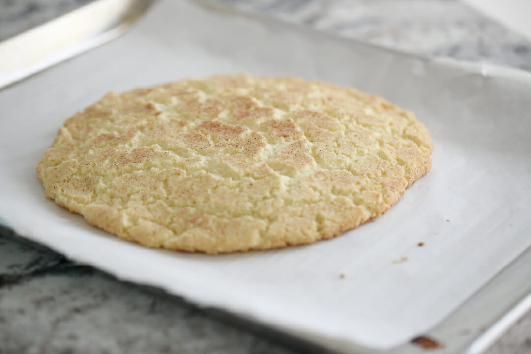 Baked Giant Snickerdoodle Cookie