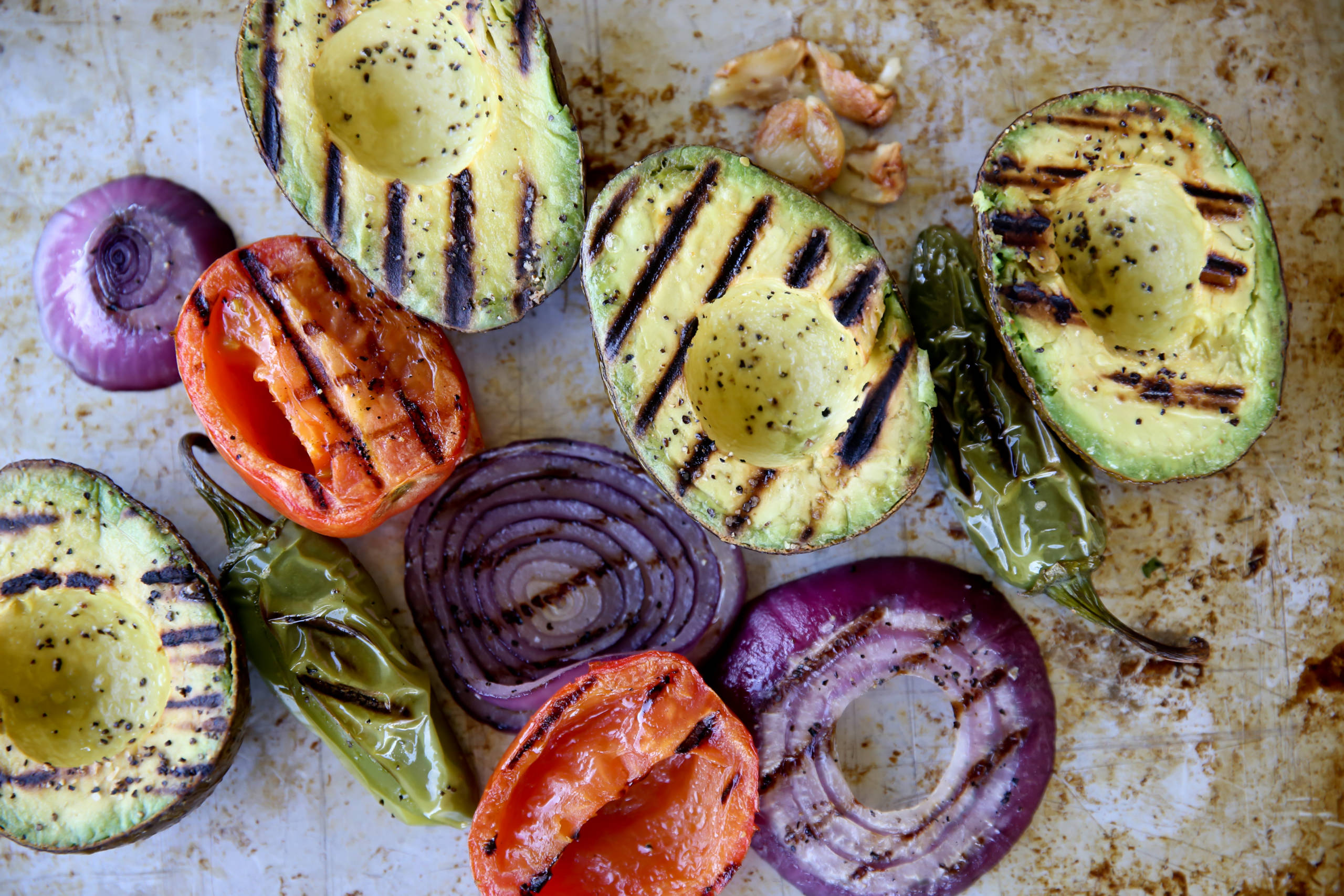 grilled vegetables and avocado for grilled guacamole