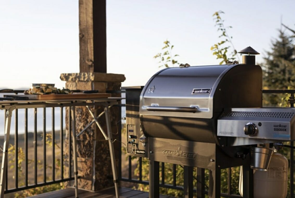 camp chef woodwind pellet grill on patio