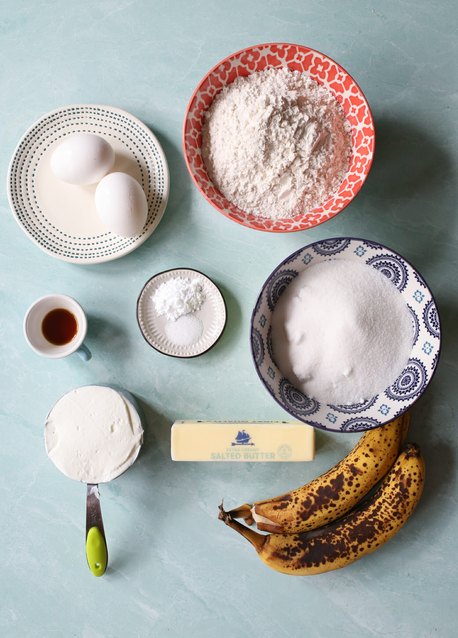 ingredients for banana bars with cream cheese icing from our best bites