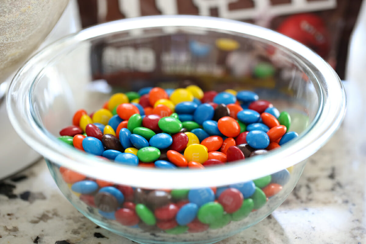 m and m's in bowl