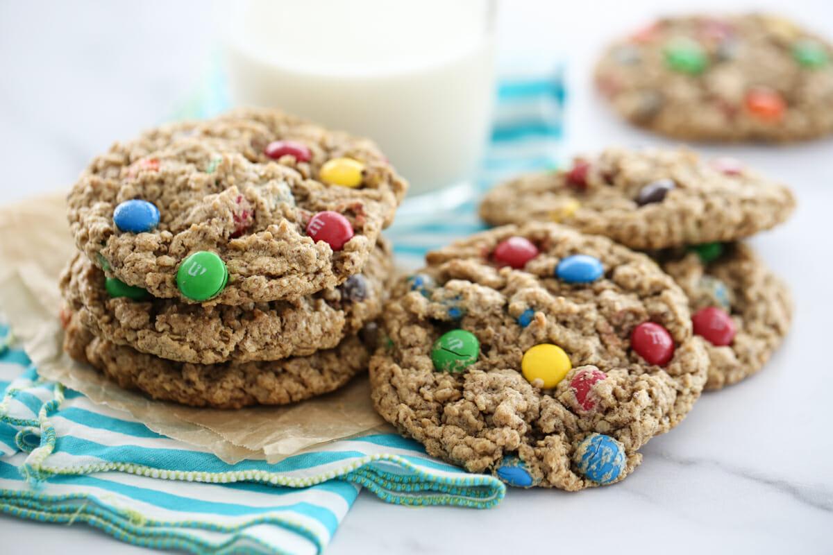 monster cookies on napkin
