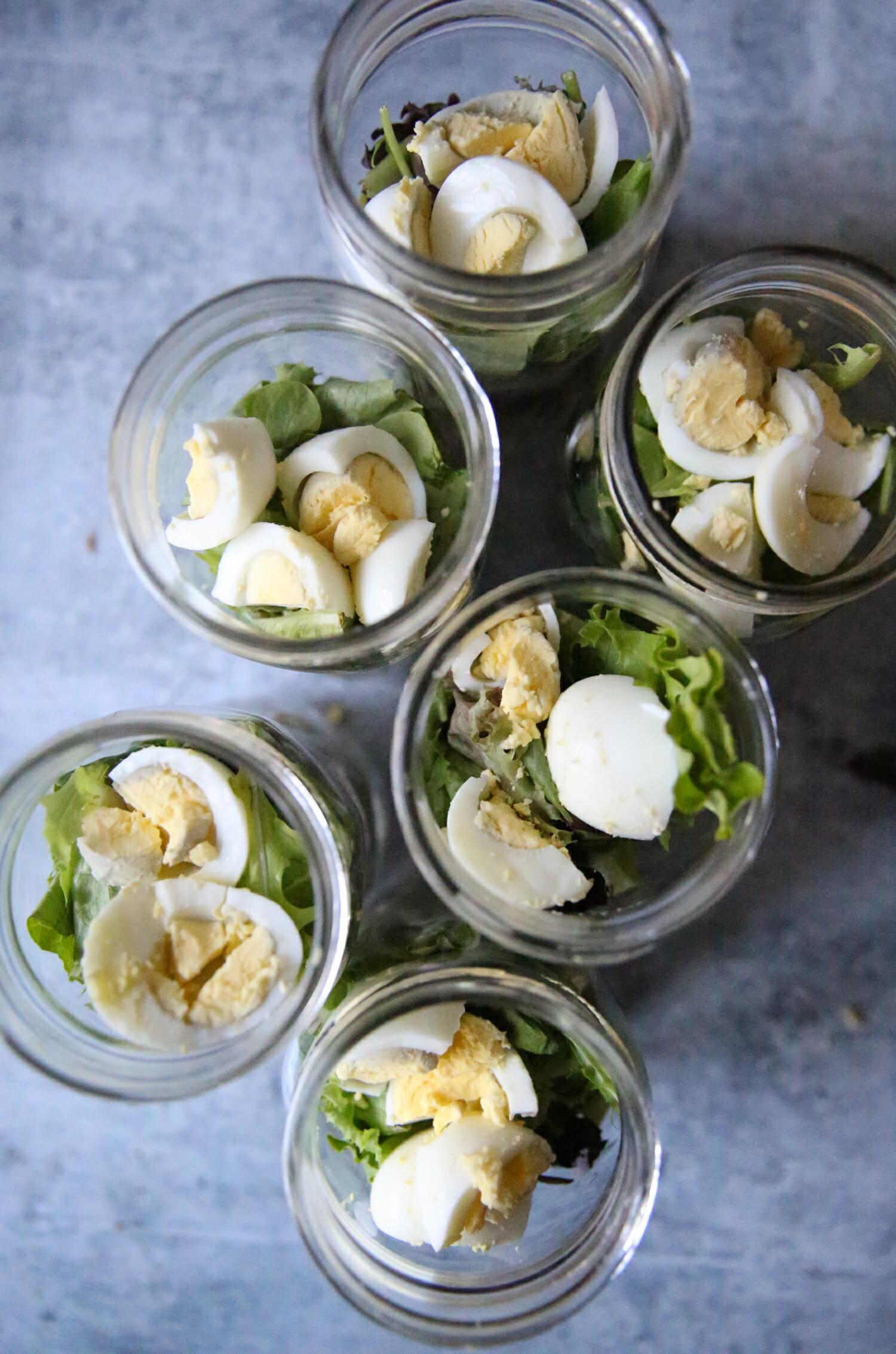 hard boiled egg in salad jar