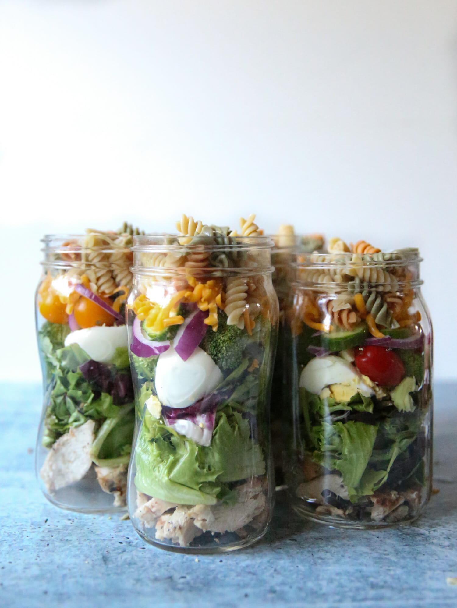 grilled chicken salad jars