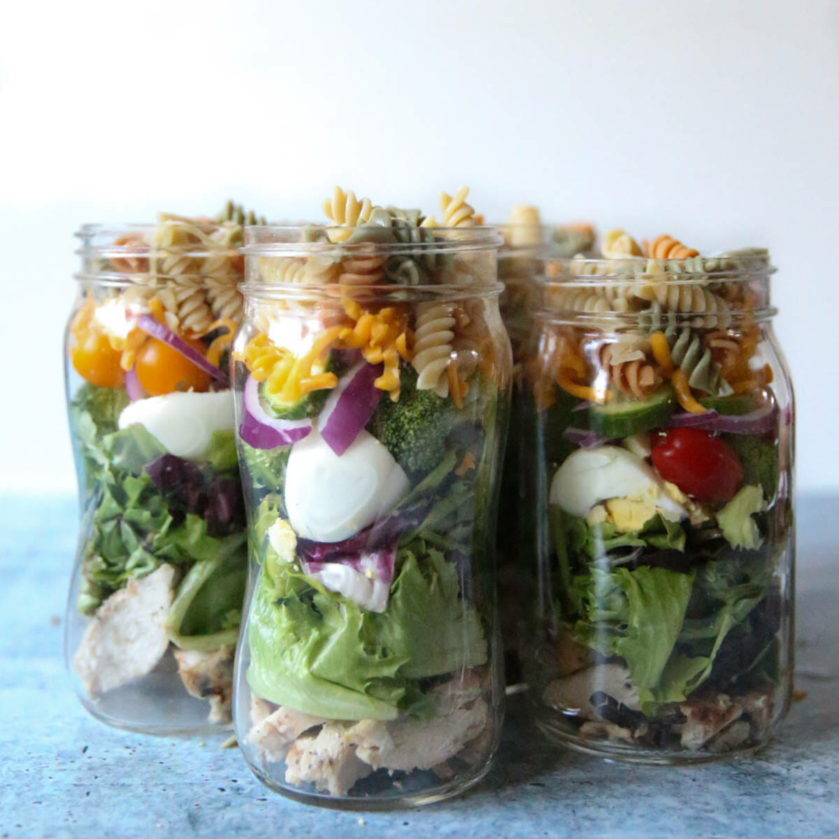 grilled chicken salad jars from our best bites