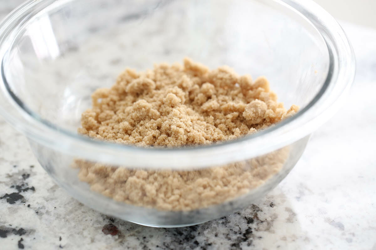 Crumble topping in a bowl