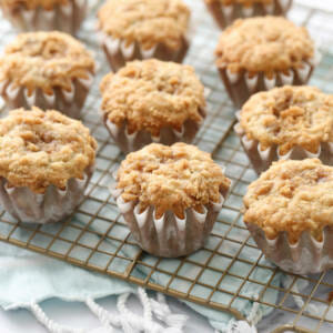 banana crumb muffins on cooling rack
