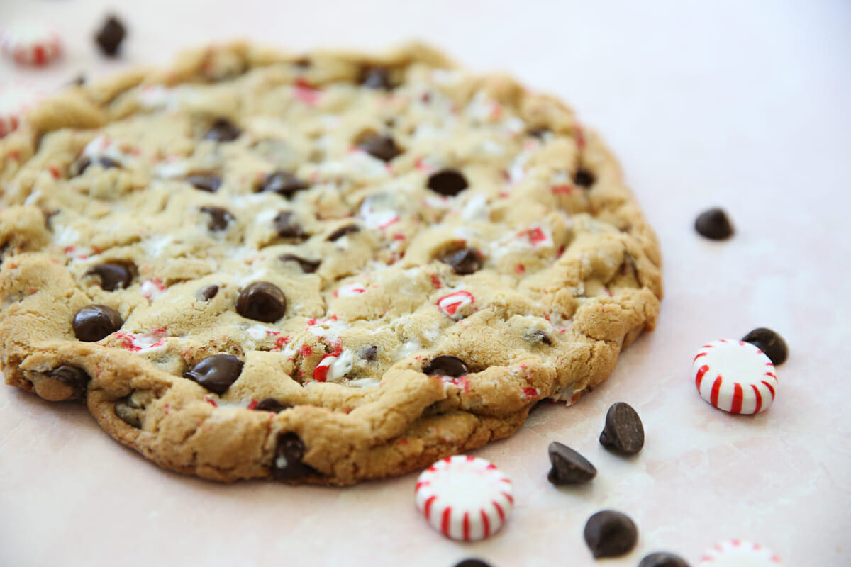 chocolate chip candy cane cookie