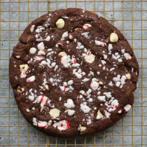 giant peppermint bark cookie