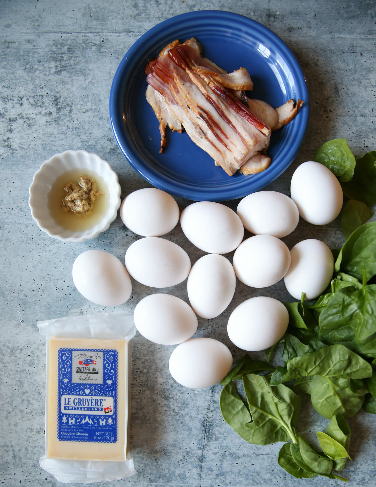 ingredients for bacon and spinach frittata