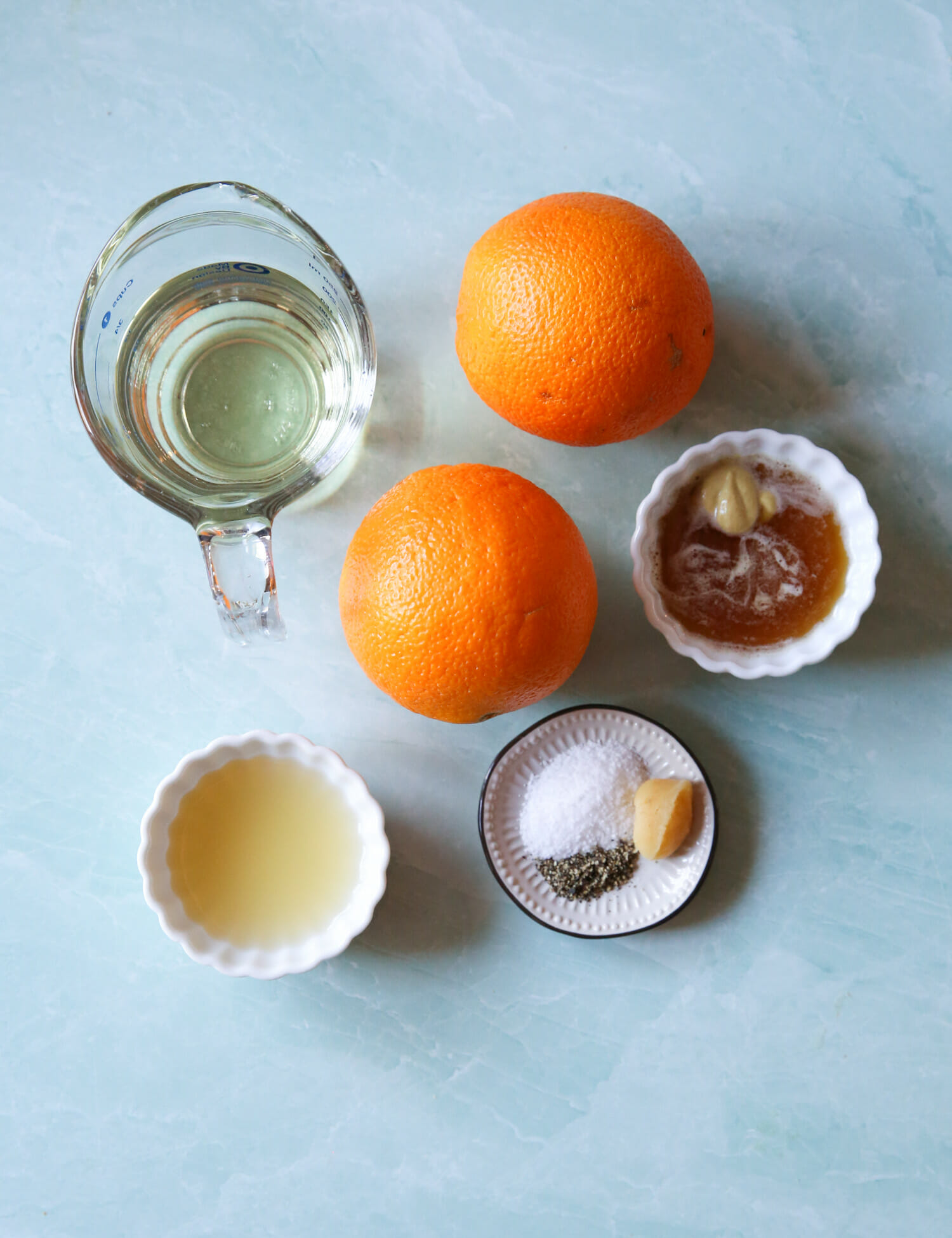 ingredients for sweet orange vinaigrette