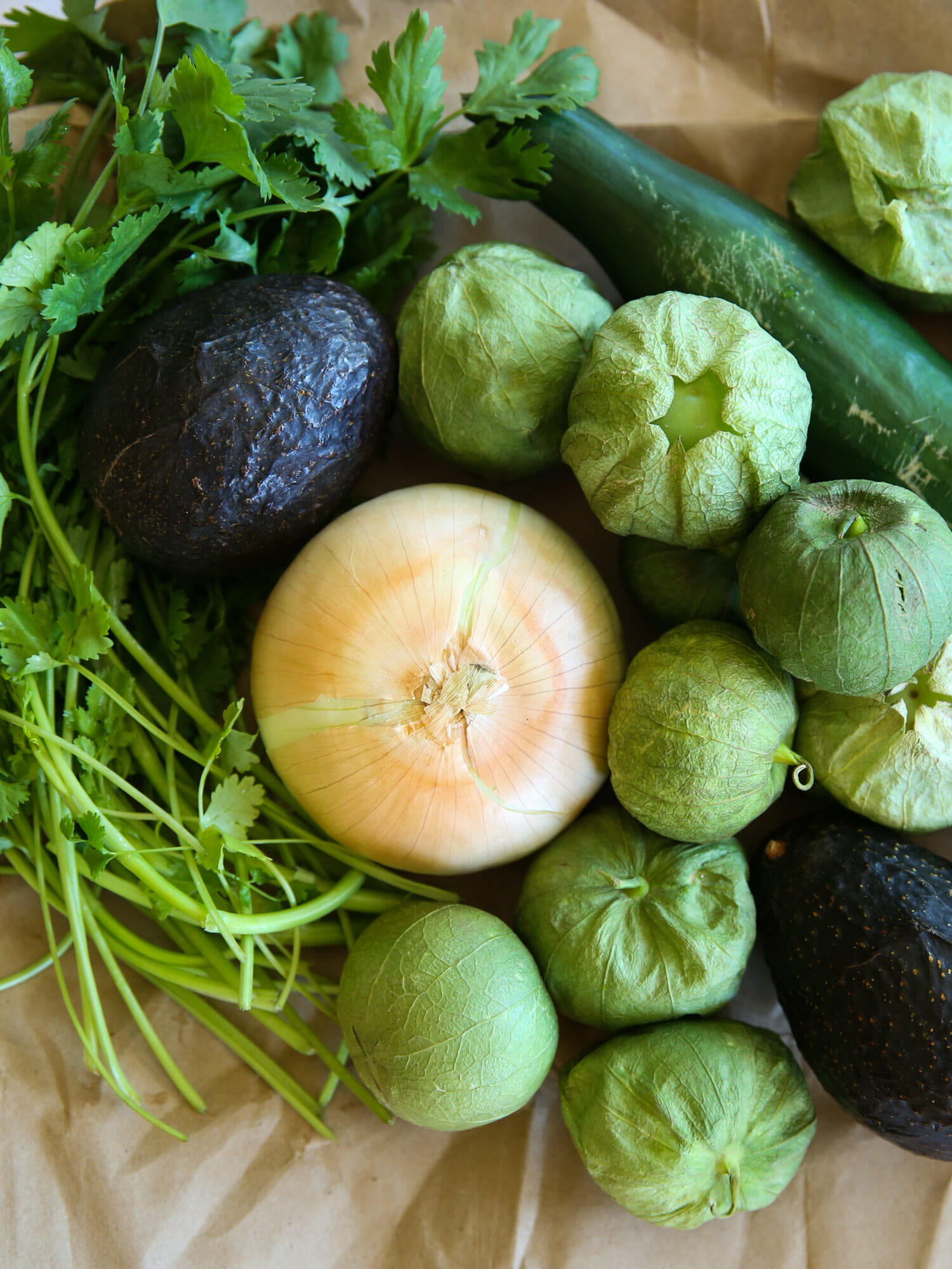 ingredients for avocado salsa verde from our best bites