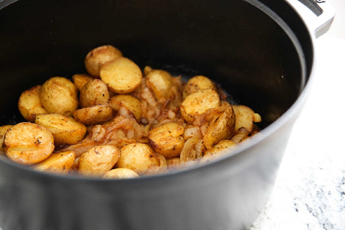 Potatoes and Onions in dutch oven