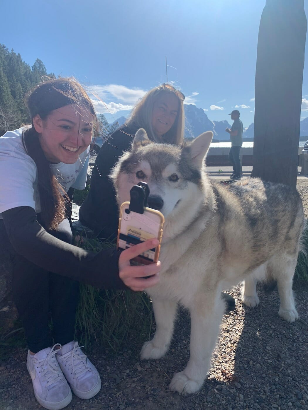 girl taking a selfie with a dog