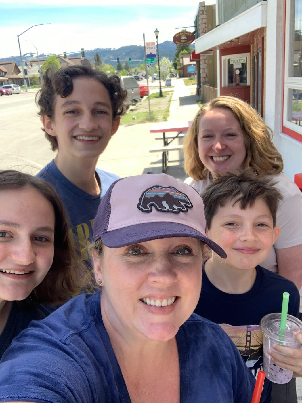 getting Huckleberry shakes in Victor, Idaho