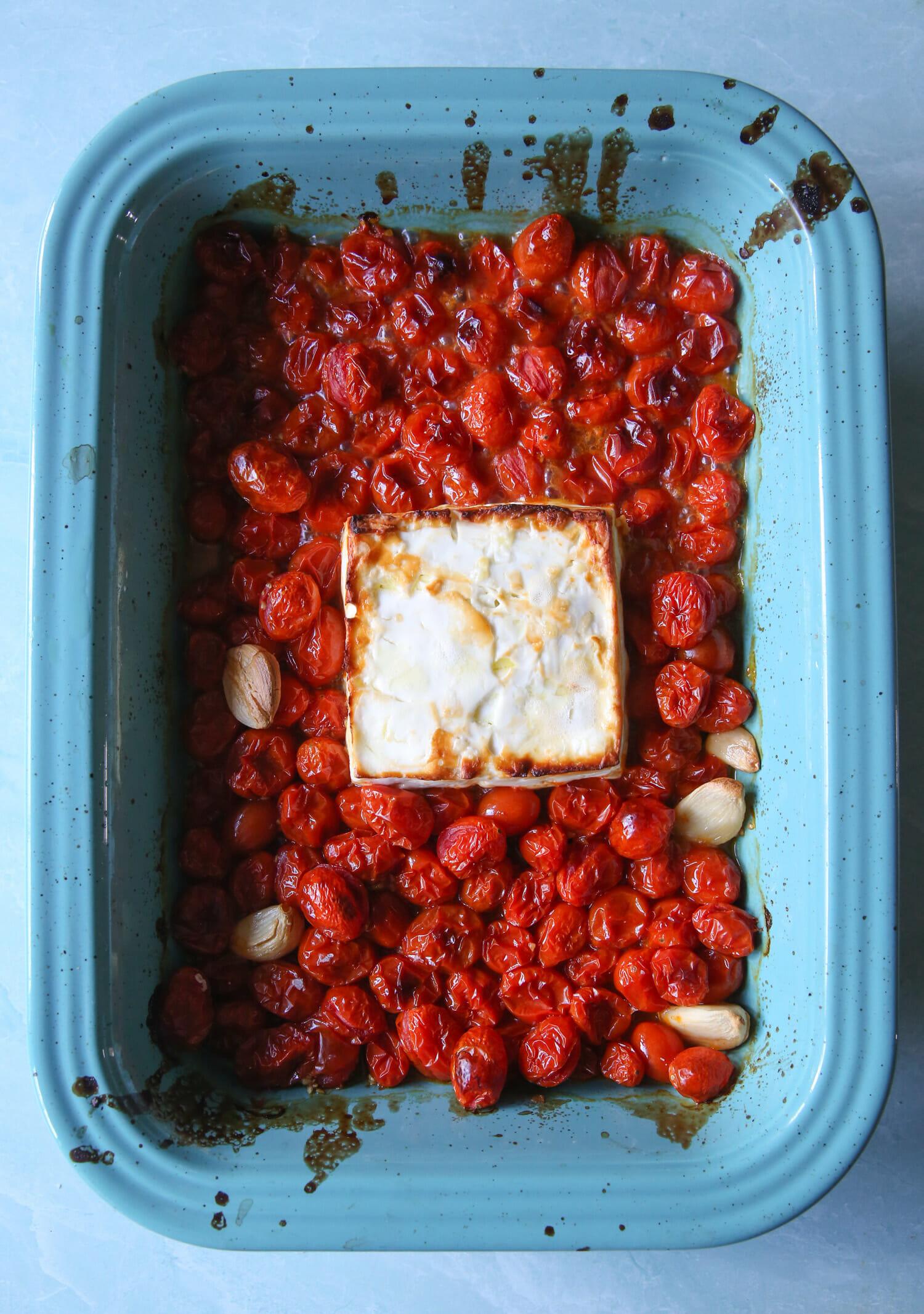roasted tomatoes, garlic, and feta cheese