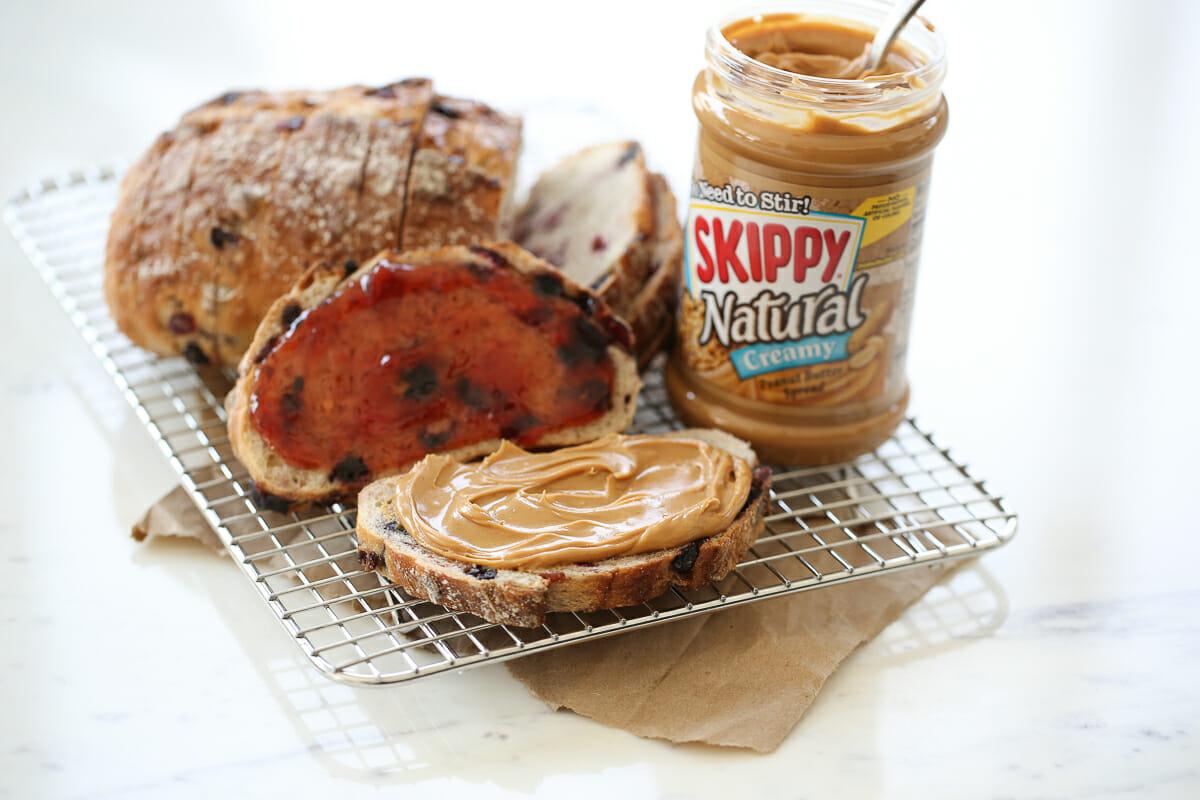 peanut butter sandwich on cutting board