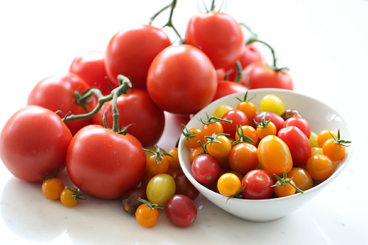 fresh tomatoes on a platter