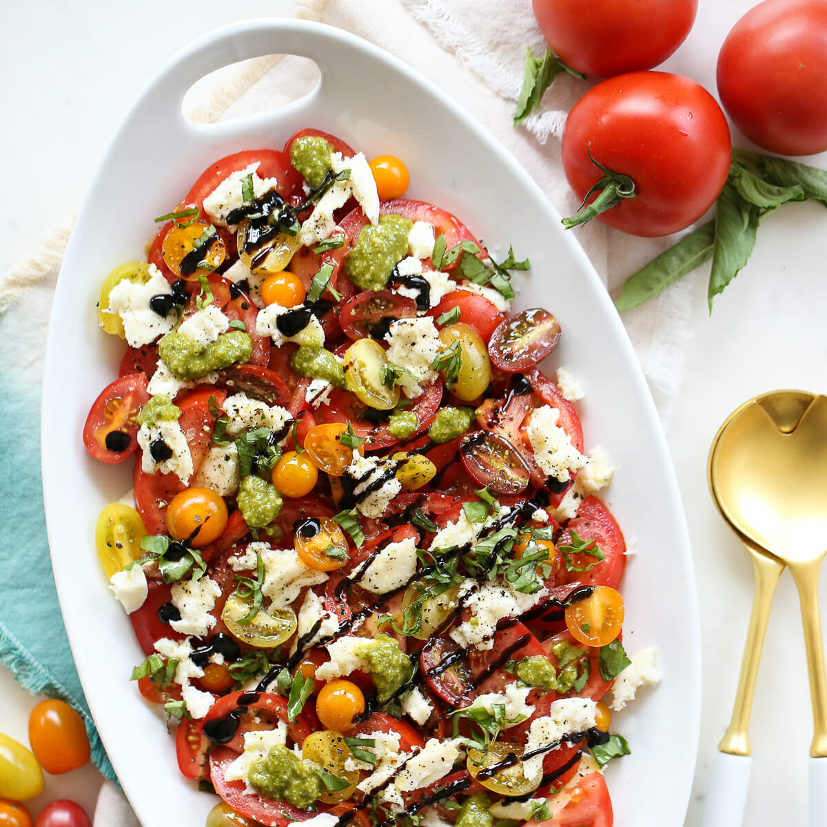 Layered Caprese Salad in a Serving Dish